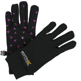 Regatta Grippy Gloves Kids Black/Camellia